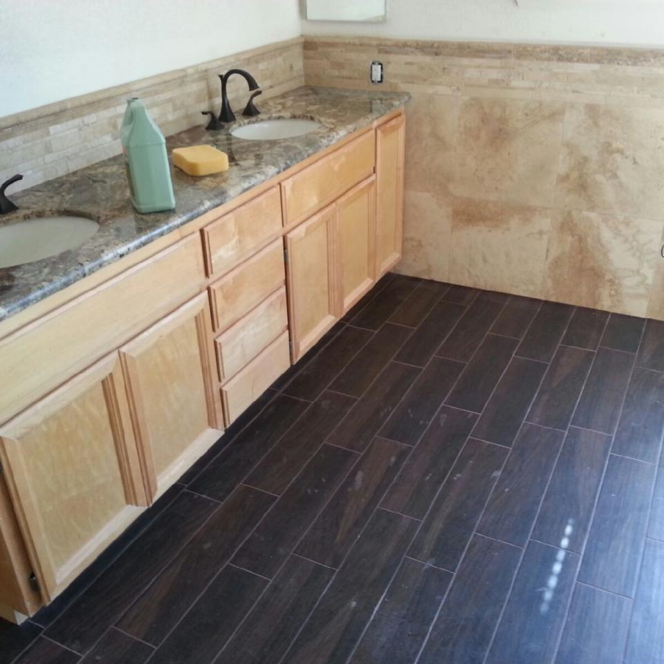 Mill valley master bath   granite counter   tile backsplash   wainscot   wood look tile floor.300110520 large20161021 19314 18ajfgz