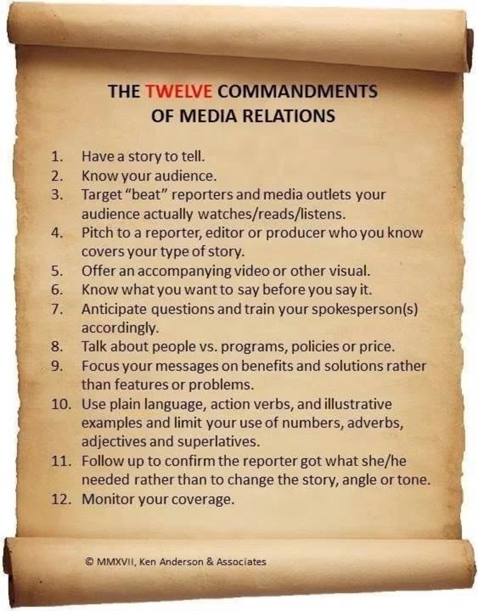 The 12 commandments of media relations