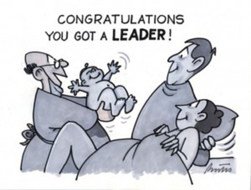 Leader birth cartoon 300
