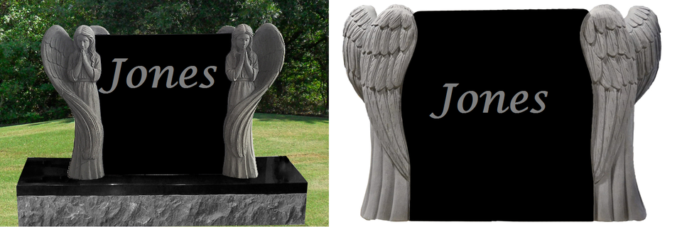 Double Standing Angel Black Monument