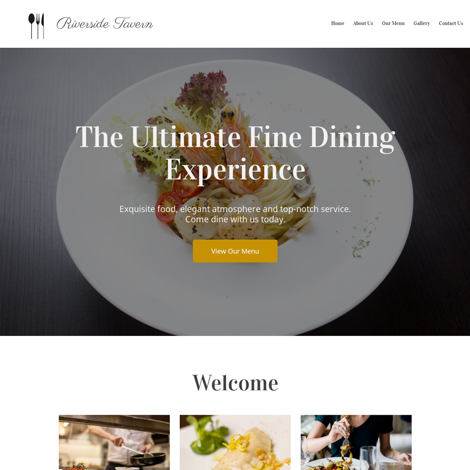 Upscale restaurant website theme
