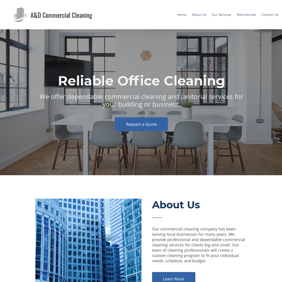 Commercial cleaning website design theme