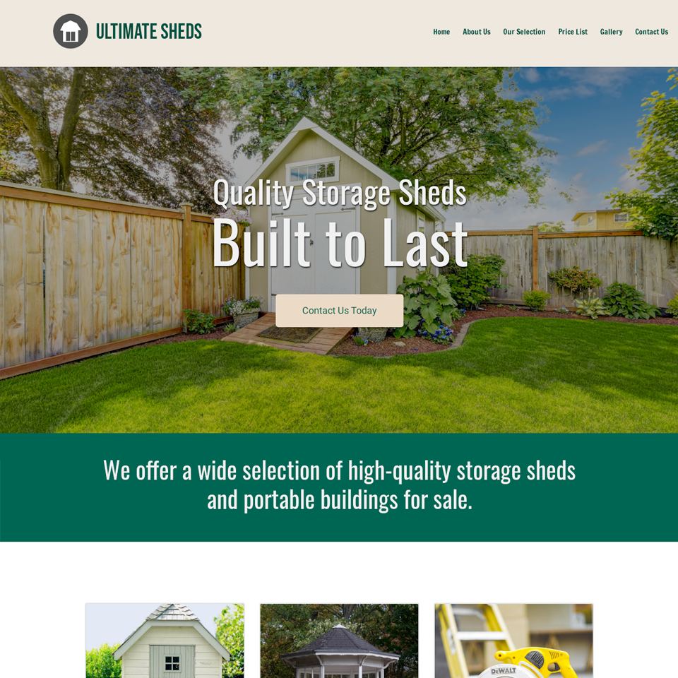 Storage shed website theme