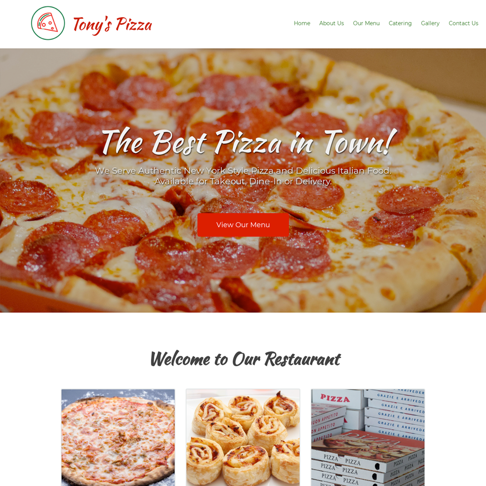 Pizzeria website design theme