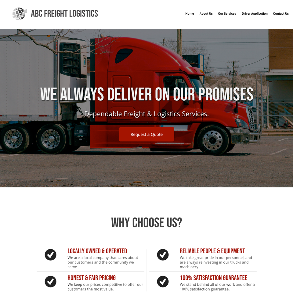 Logistics company website design