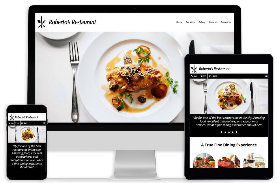 Example responsive website on mobile, desktop, and tablet