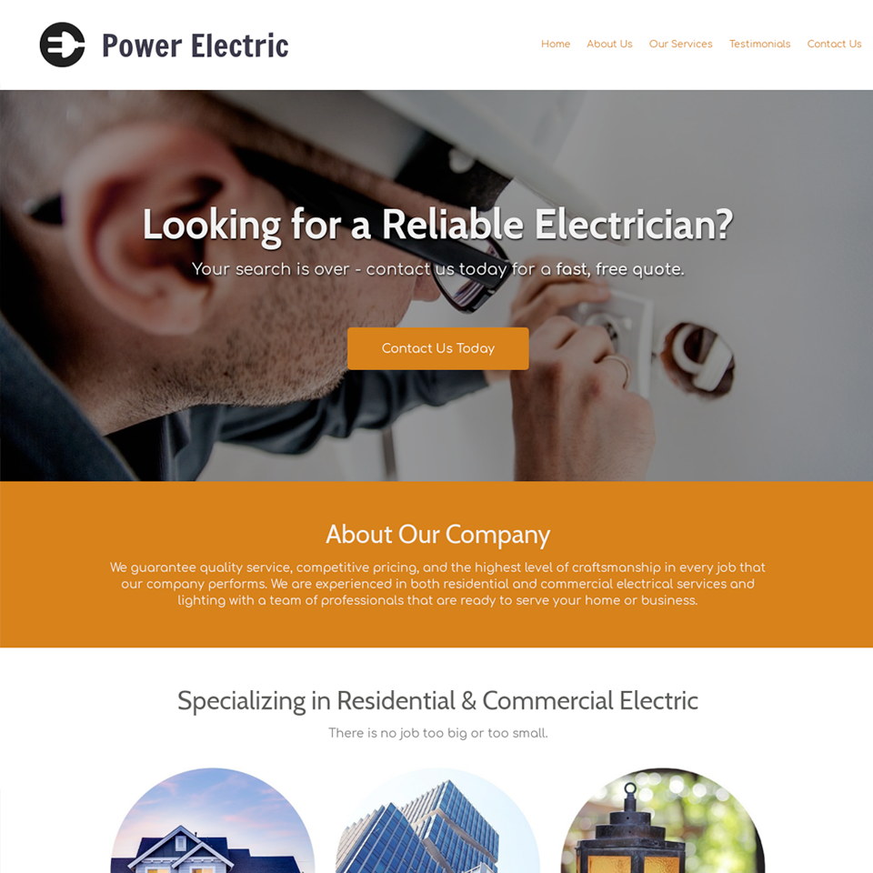 Electrician website theme