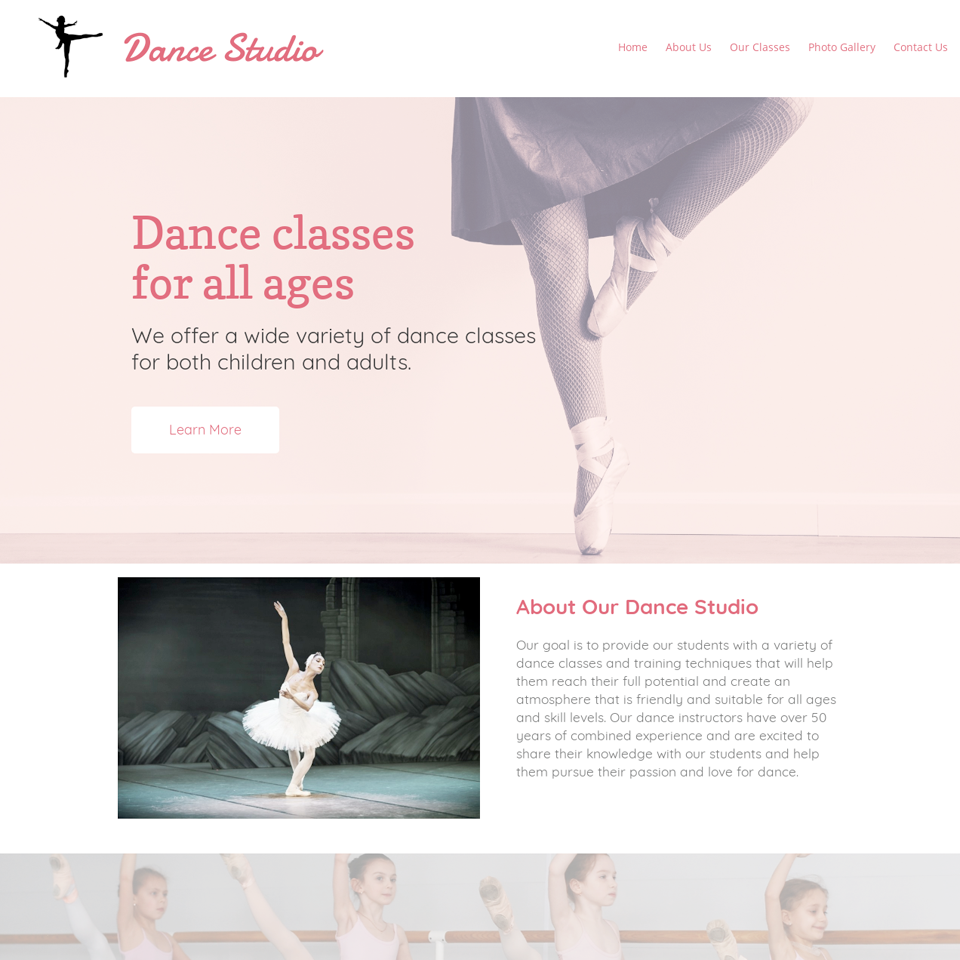 Dance studio website theme