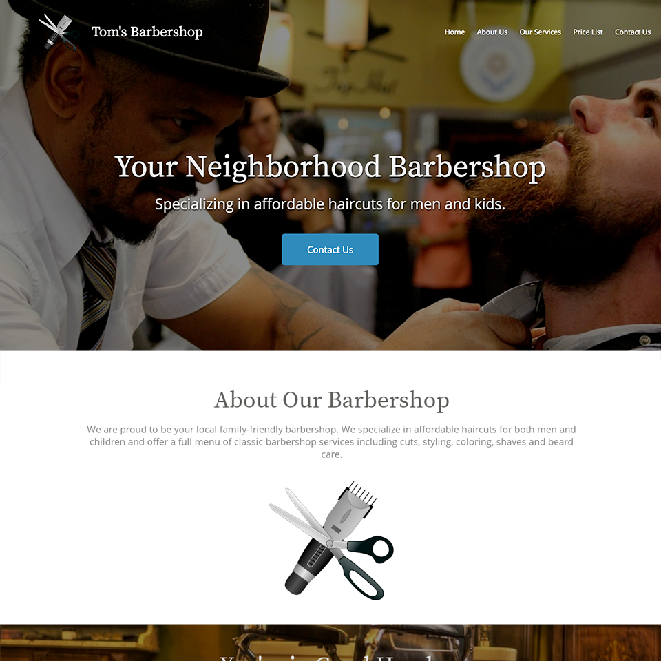 Barbershop website design theme