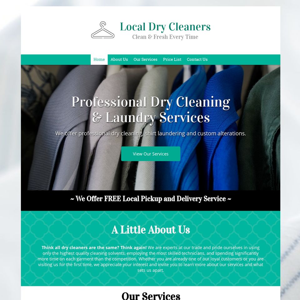 Dry cleaners website design theme