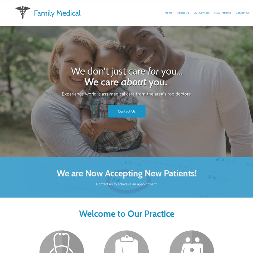 Medical practice website design theme