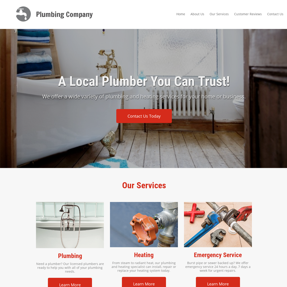 Plumbing company website design theme