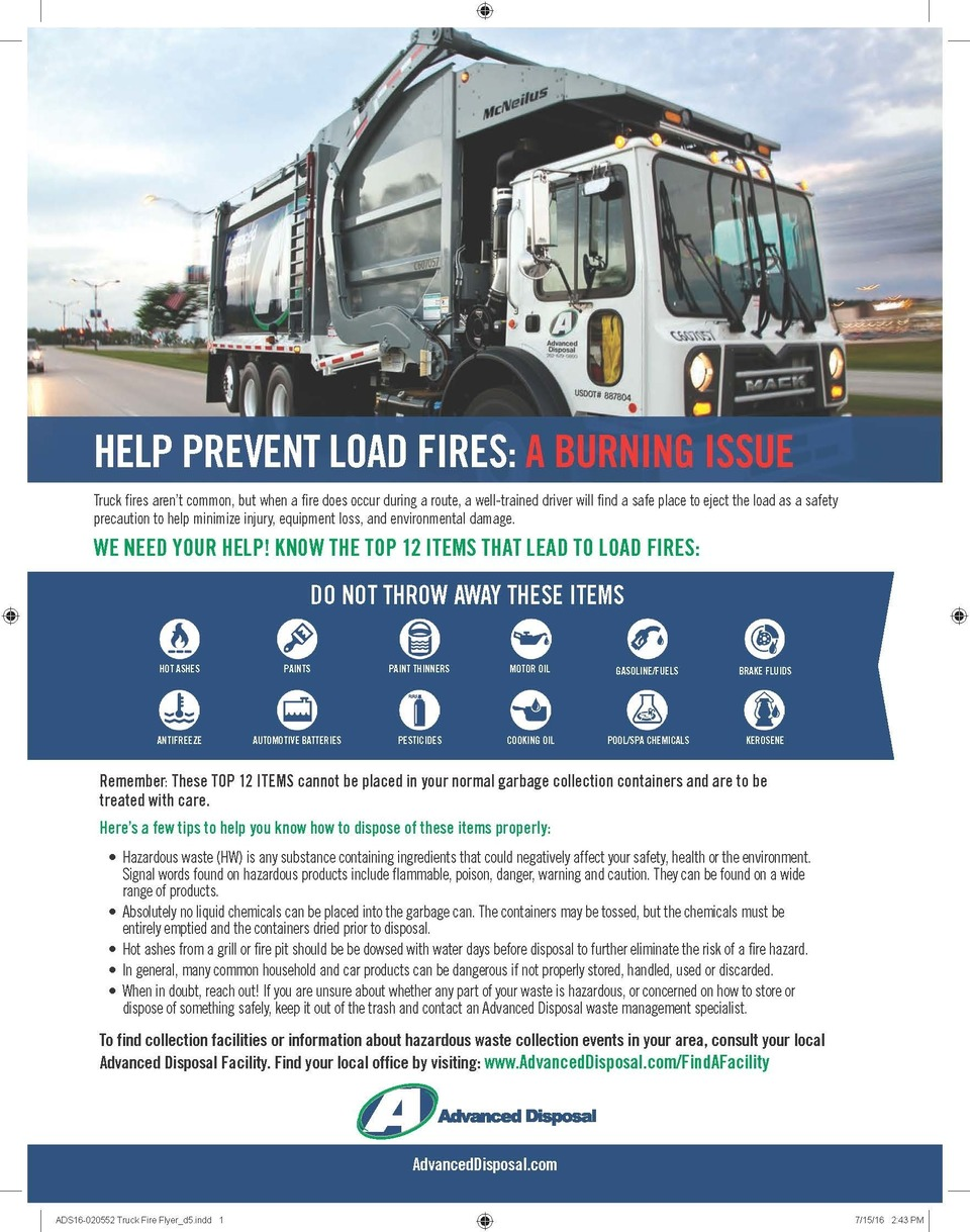 Advanced disposal truck fire flyer