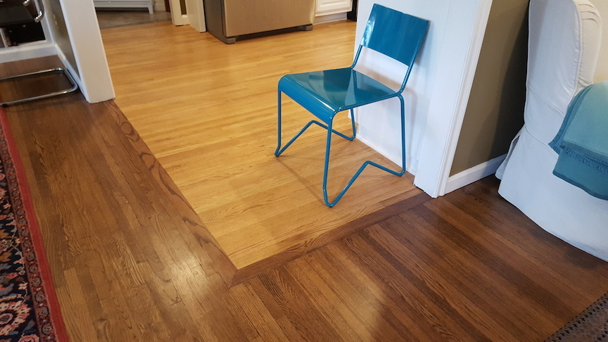 Two Tone Refinished Wood Strip Pattern Hardwood Floor From A Project In Tulsa Roper Floors Oklahoma