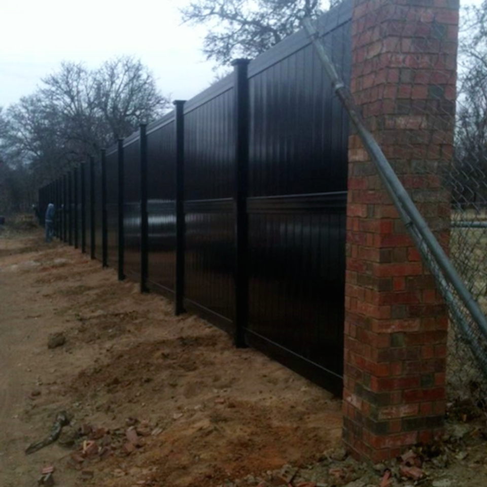 Midland vinyl fence   deck company   tulsa and coweta  oklahoma   vinyl metal wood fence sales and installation   privacy   vinyl black privacy fence  tall  3 rails   220170609 25591 1nfjx6n