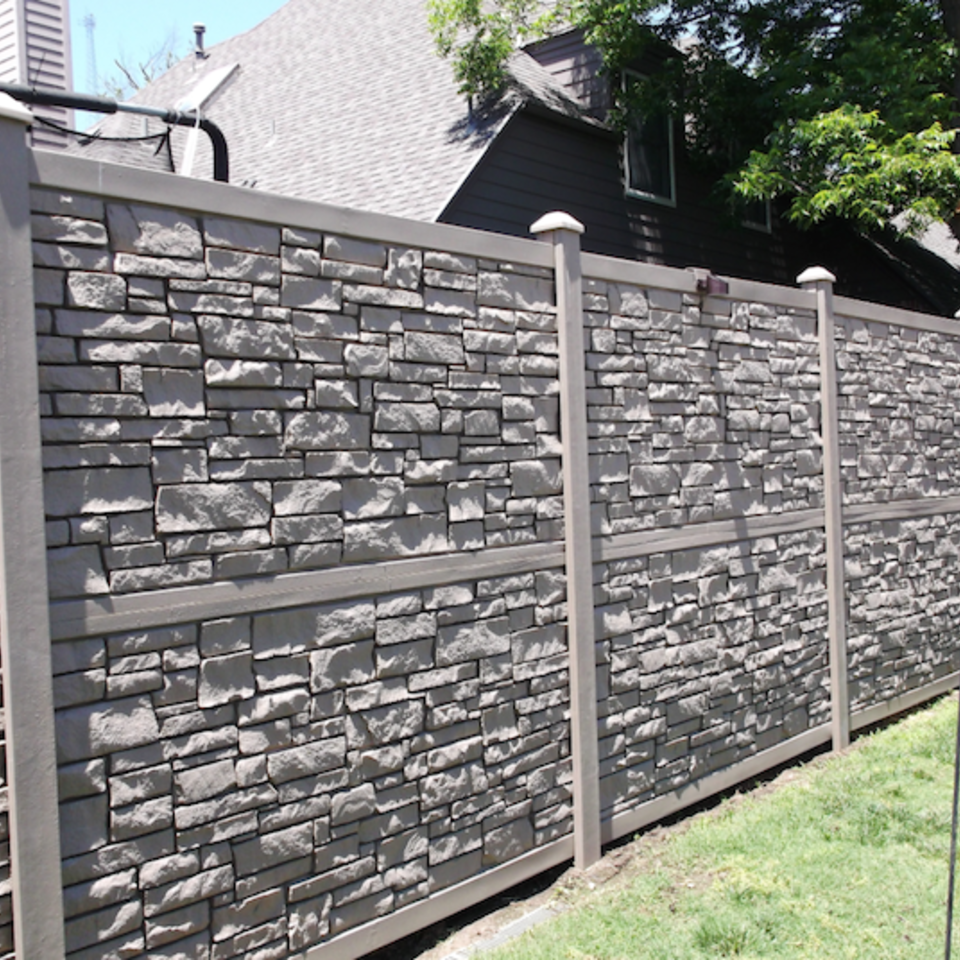 Midland vinyl fence   deck company   tulsa and coweta  oklahoma   vinyl metal wood fence sales and installation   privacy   vinyl stone color privacy fence  faux laid stone panels20170609 5047 gffowe