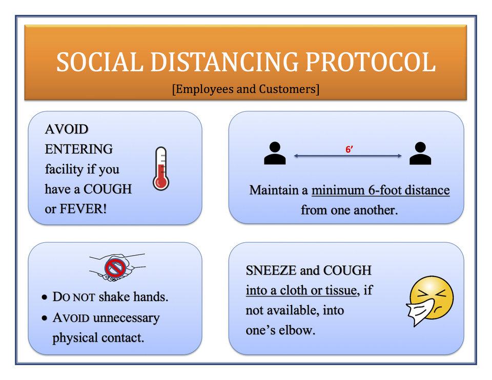 2020 social distancing protocol sign