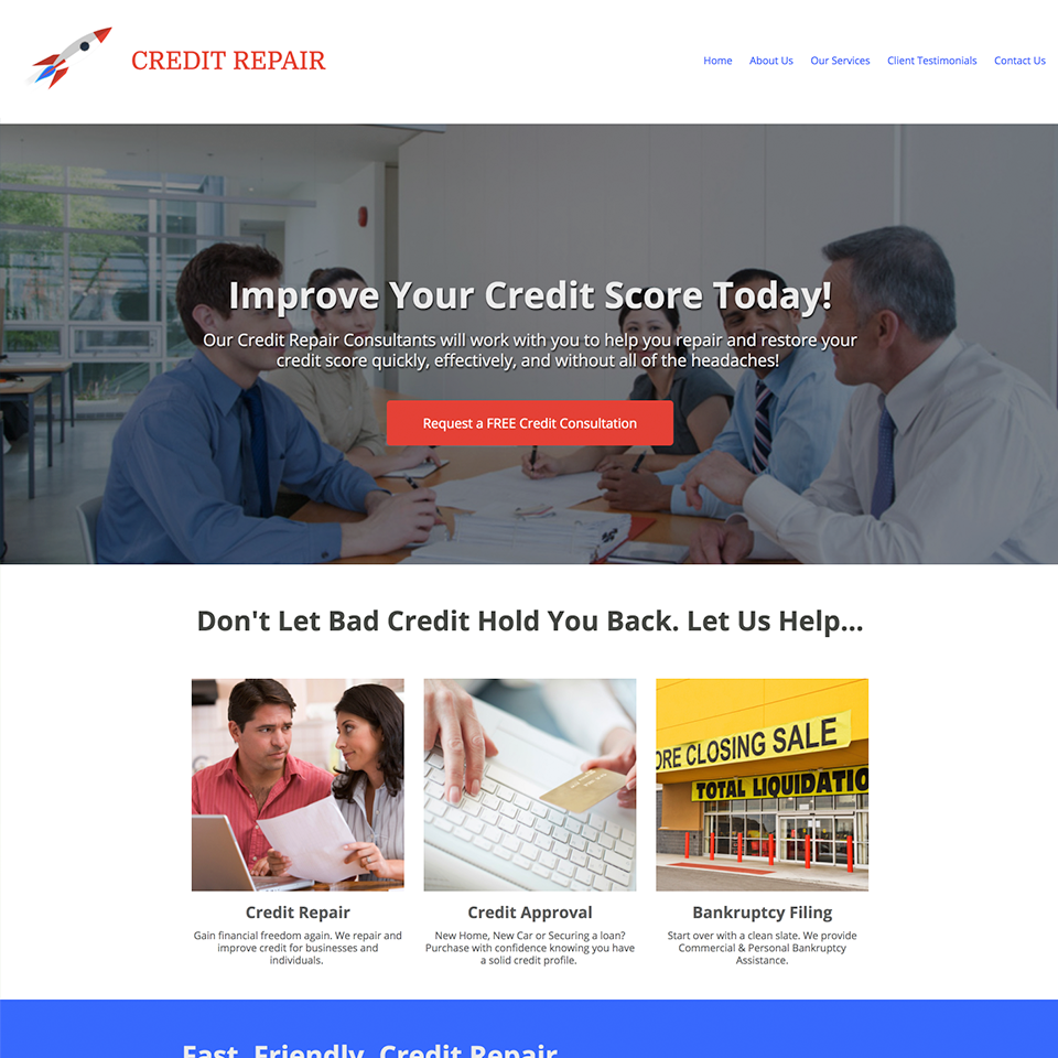 Credit repair business website design theme