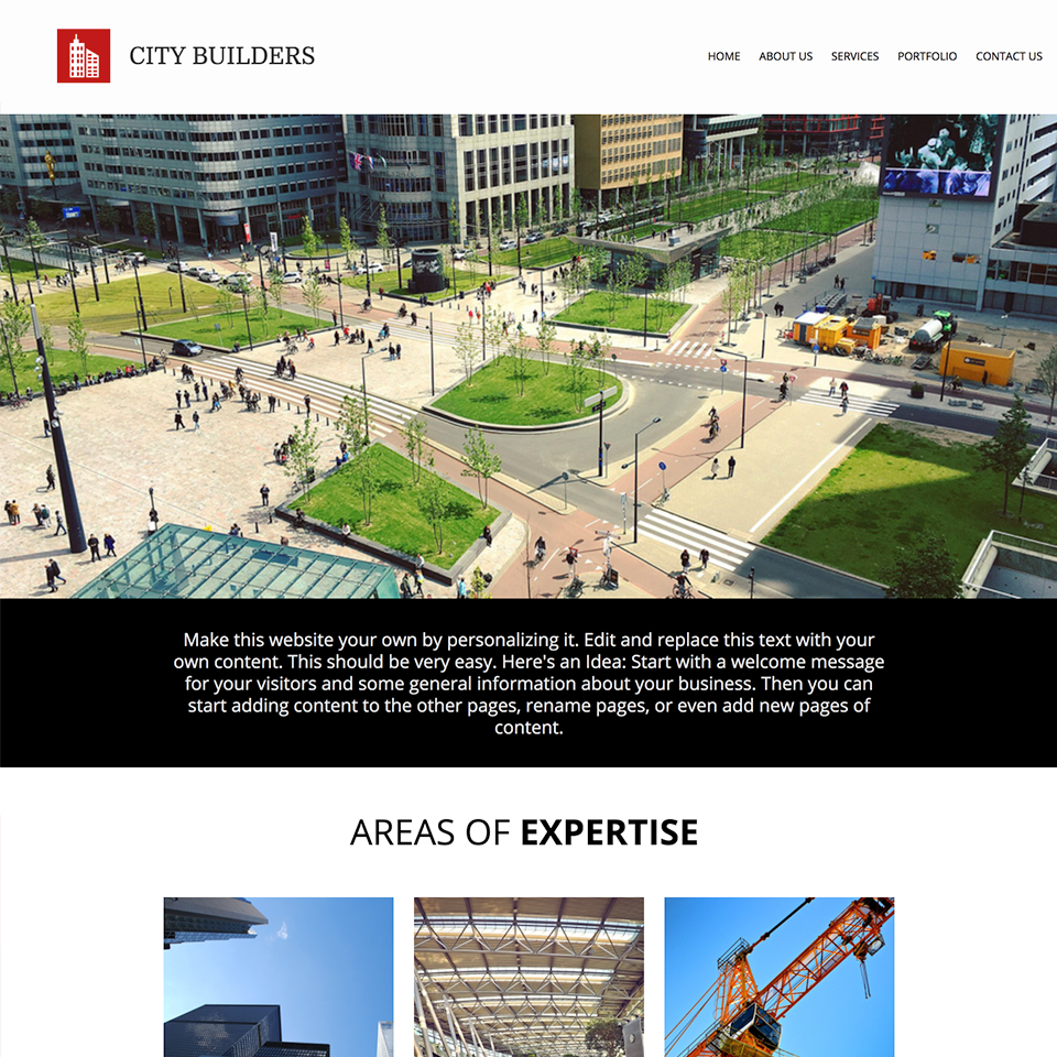 City builder website design theme