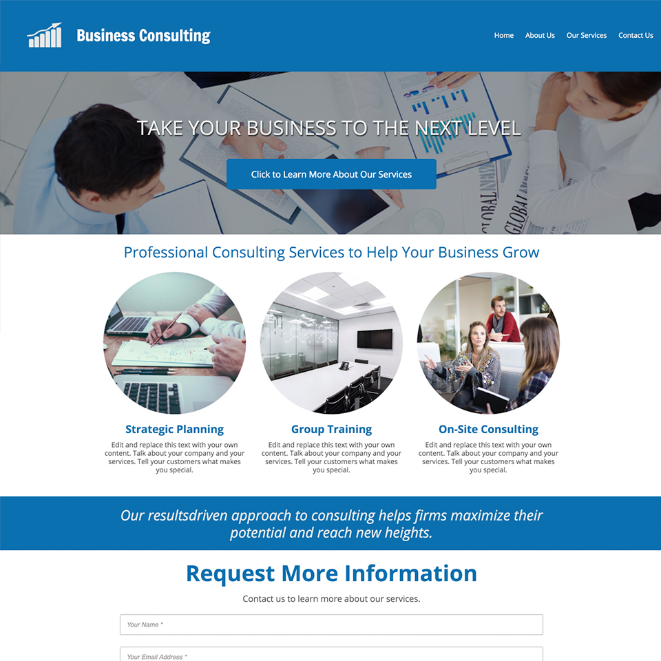 Business consulting website design theme