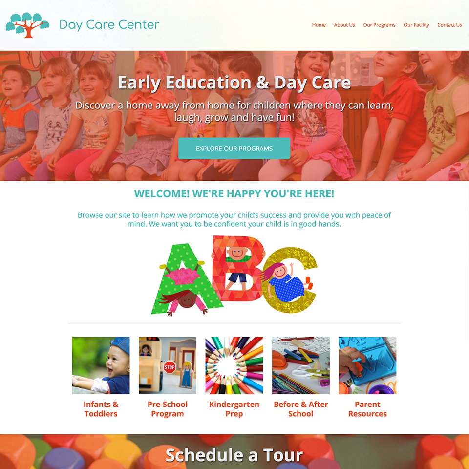 Day care website design theme