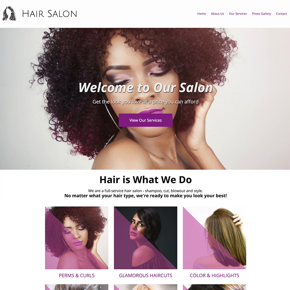 Hair salon website design theme