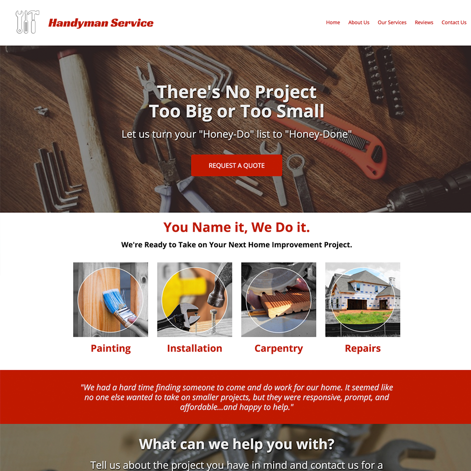 Handyman website design theme