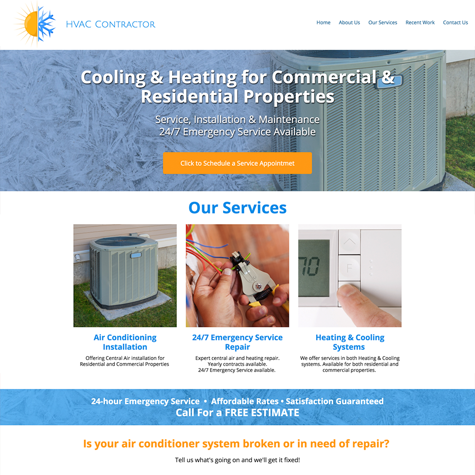 Hvac contractor website design theme