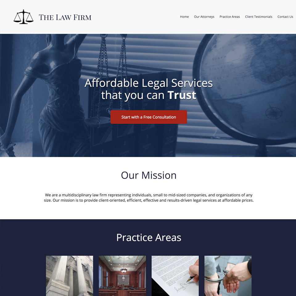 Law firm website design theme