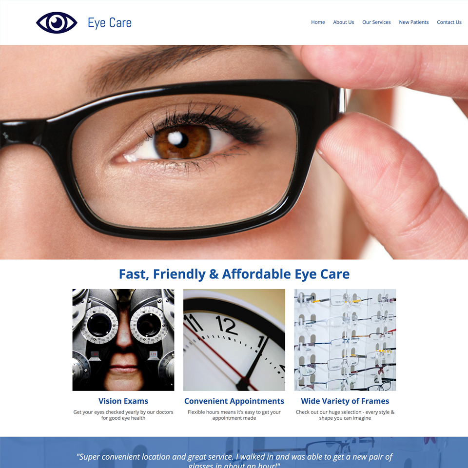 Eye care website design theme