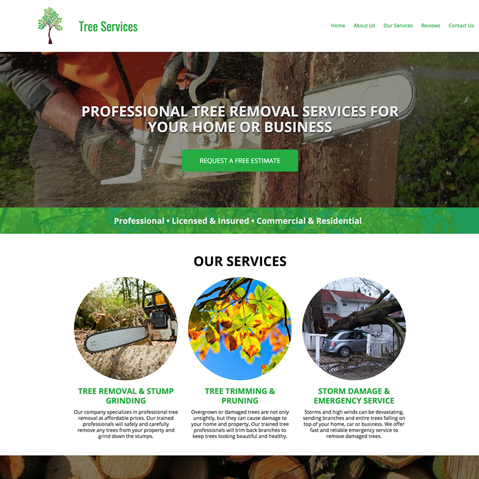 Tree removal website design theme