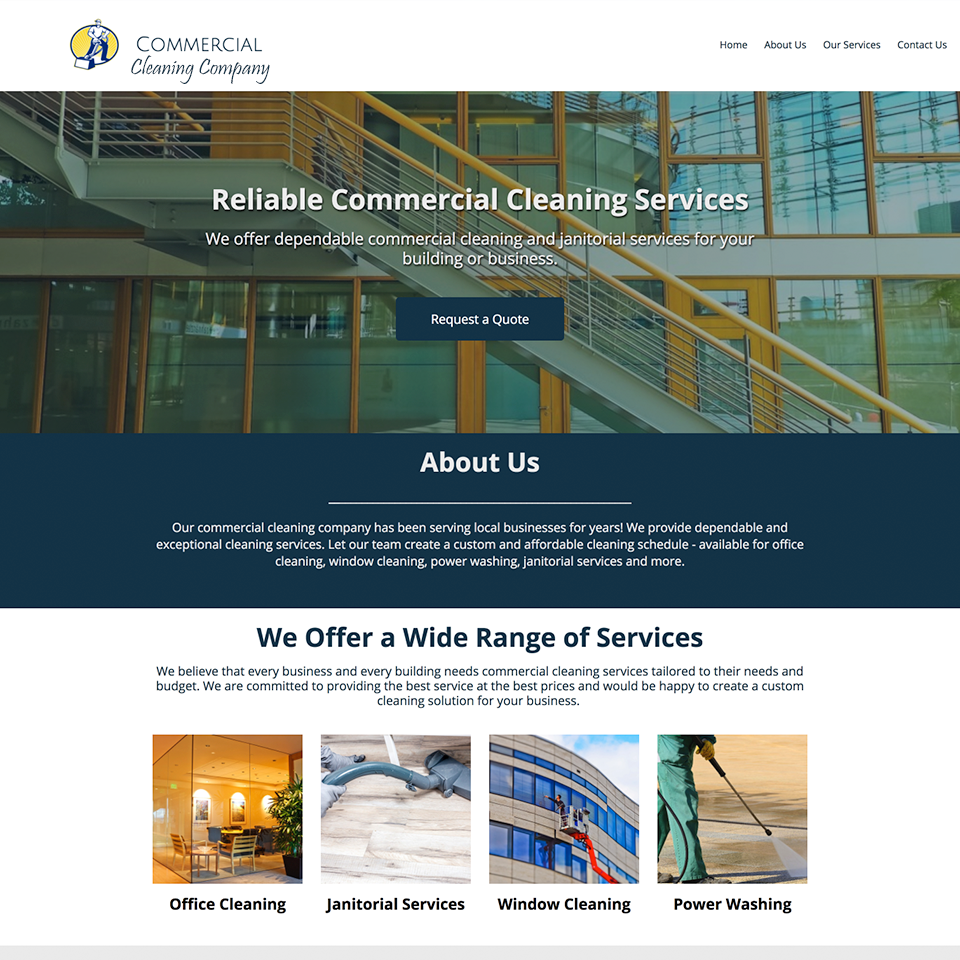 Commercial cleaning company website design theme