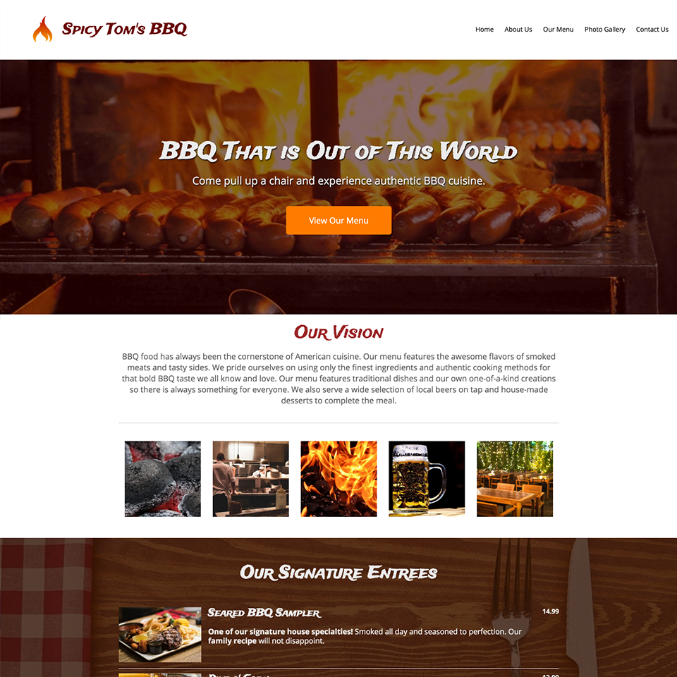 Bbq restaurant website design theme