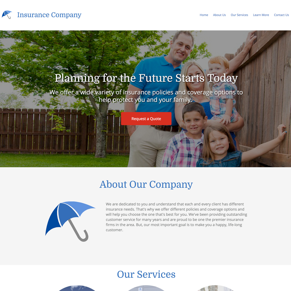 Insurance agency website design theme