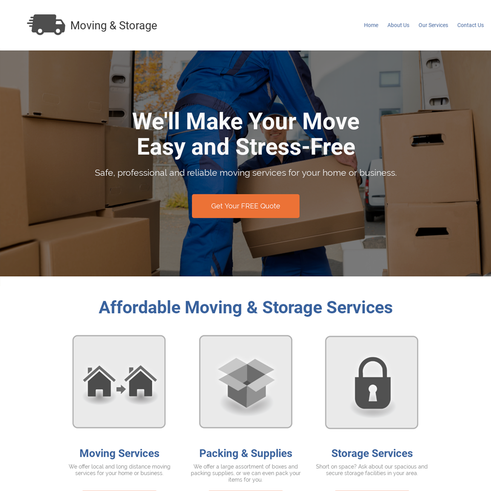 Moving company website design theme