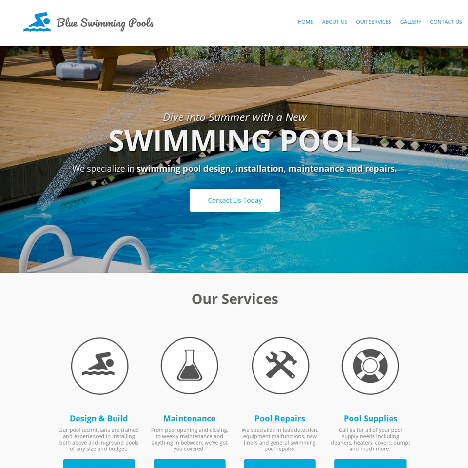Swimming pool company website design theme