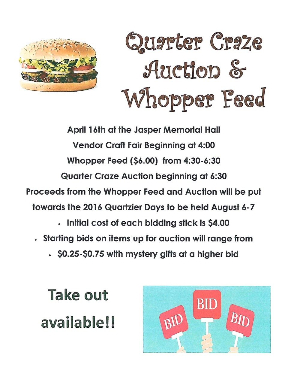 Quartziter Quarter Craze Auction & Whopper Feed
