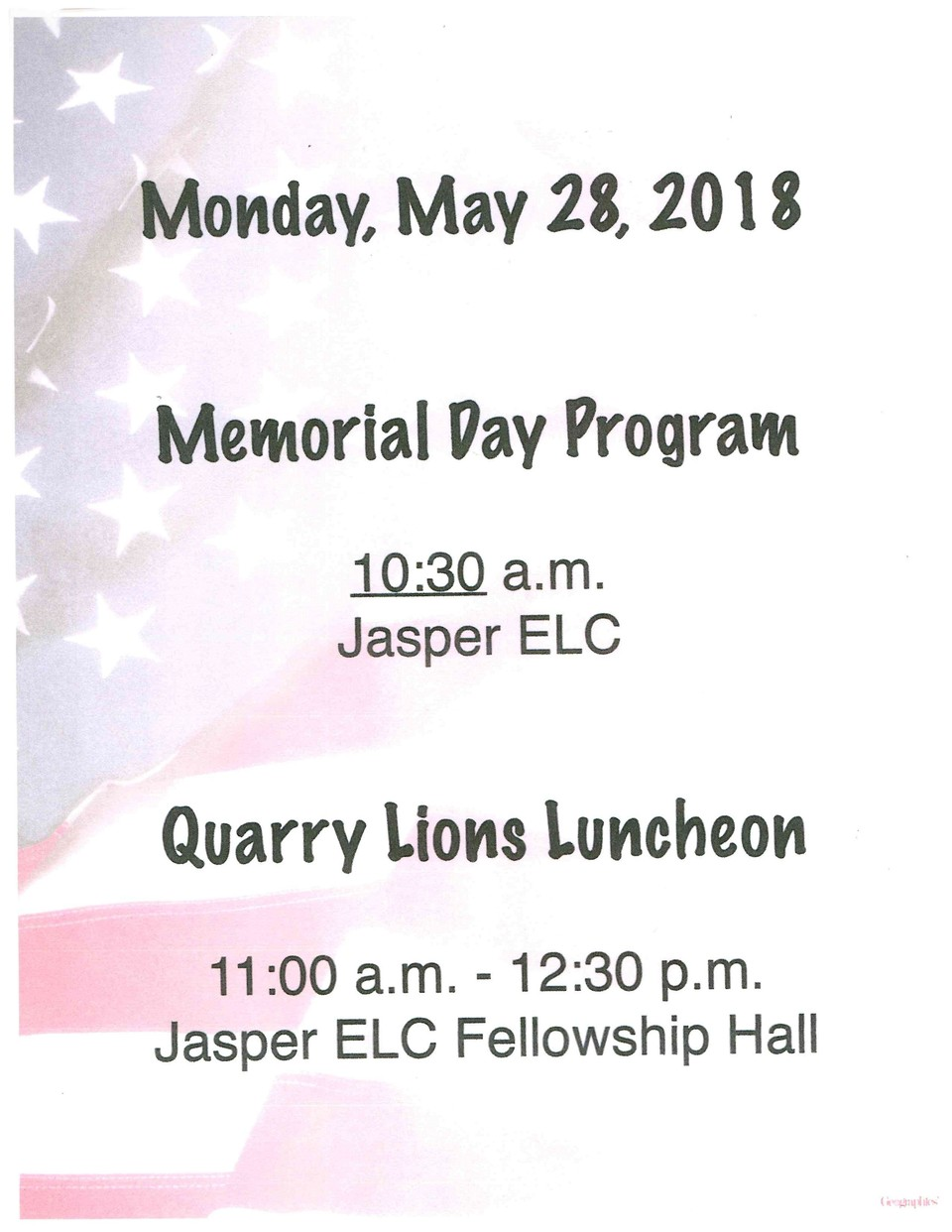 Memorial Day Program/Quarry Lions Luncheon