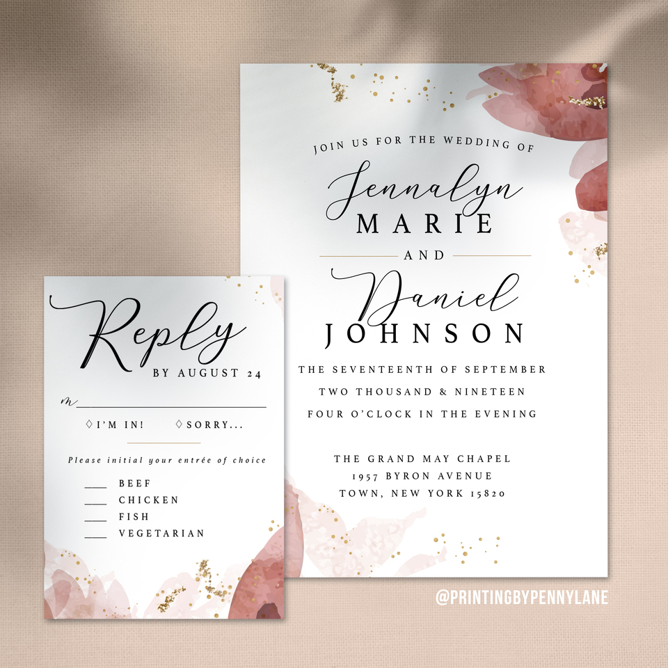 Watercolor invite mockup