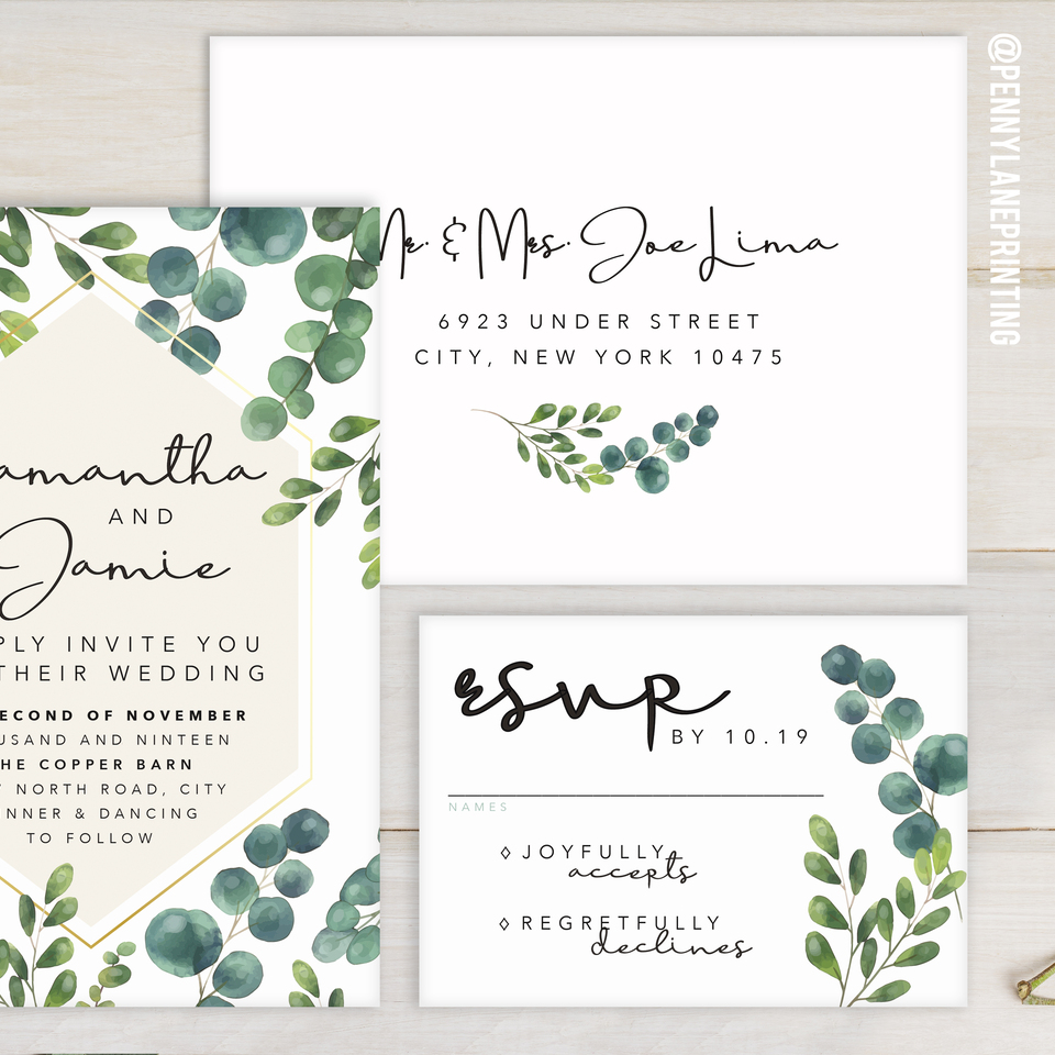Wedding invite greenery