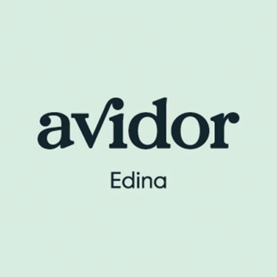 Avidor logo square edina rgb blue on mint 500x500