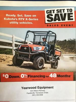 Kubota GET SET TO SAVE promos.