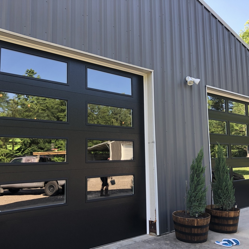 Black full view garage doors 2