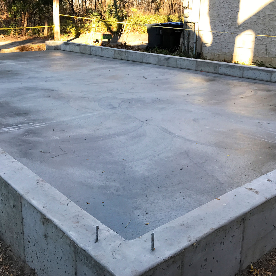 Garage floor poured foundation