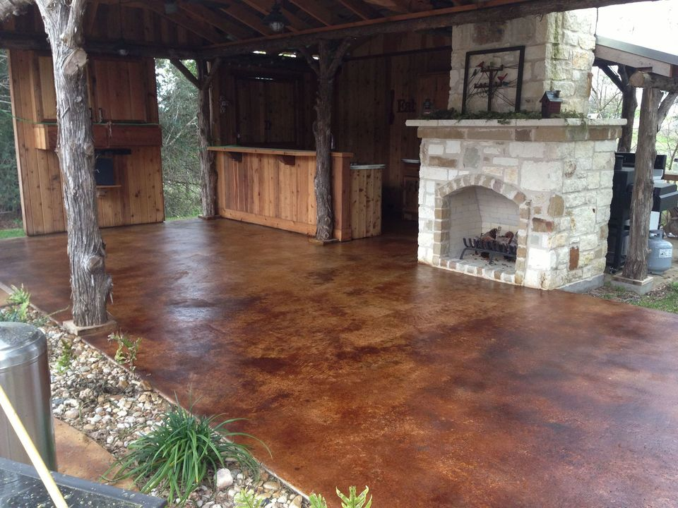 Scored and stained concrete patio