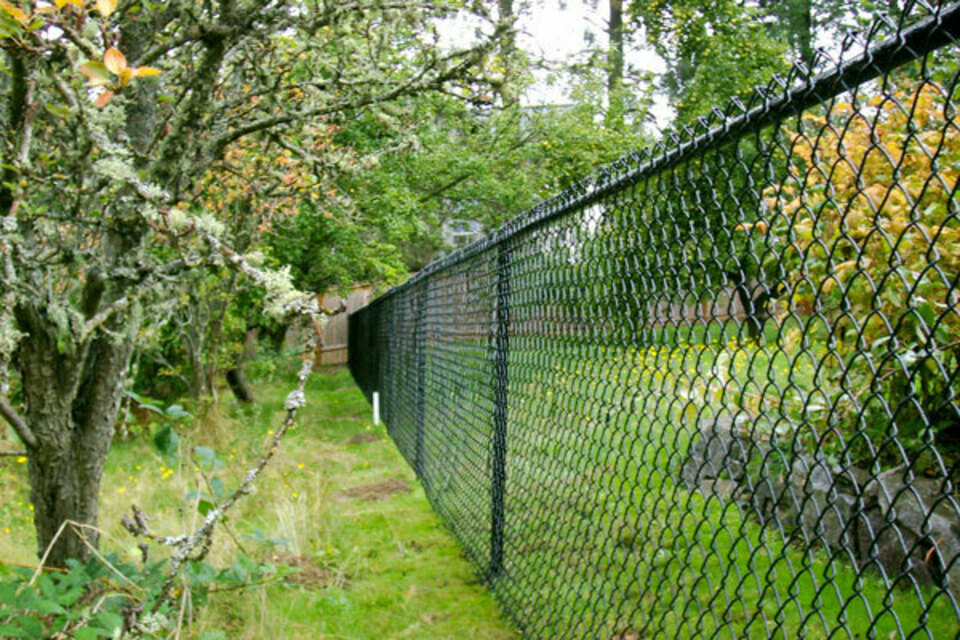 All black chain fence