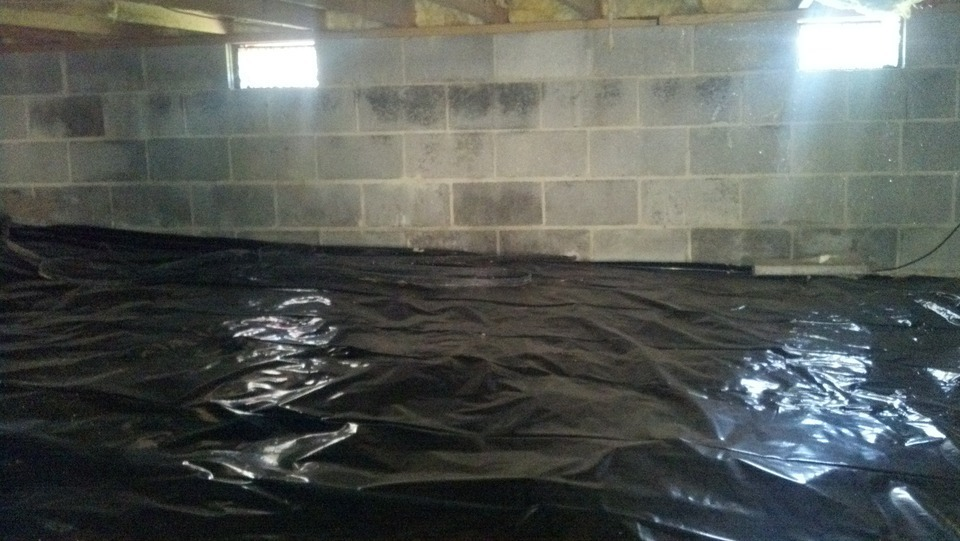 We install crawl space polly vapor barriers