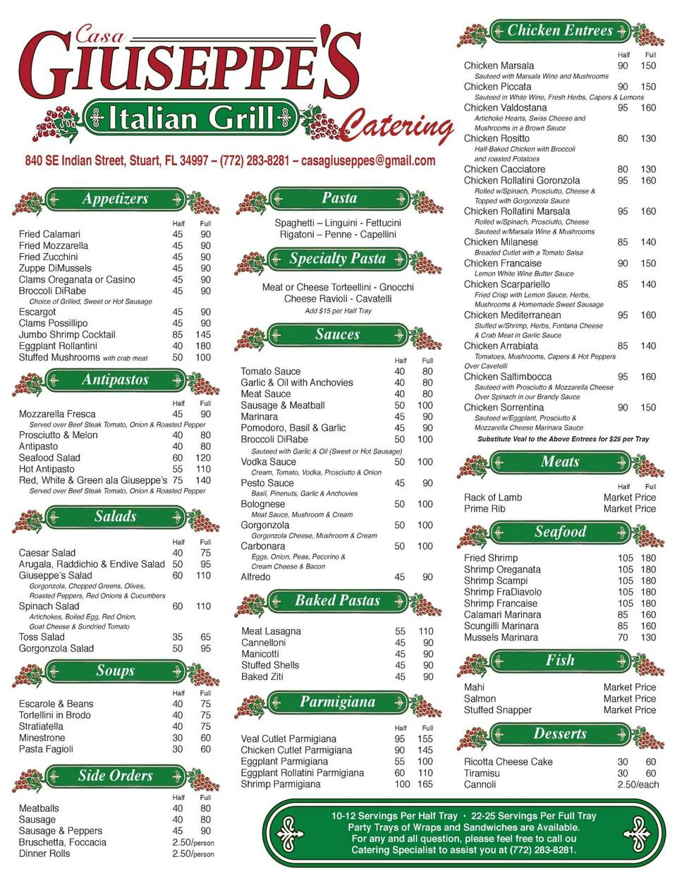 Cg catering menu front