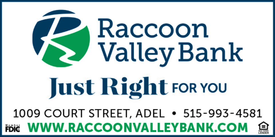 385981 raccoon valley bank 2x1in adel adv