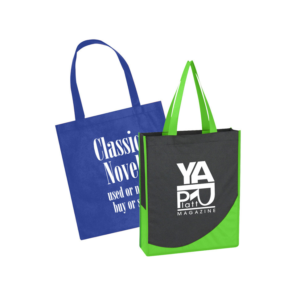 blue tote bag and a charcoal and green two-tone tote bag